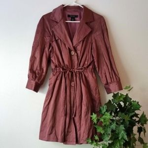 Nine West Tie Waist Shimmer Crinkle Trench Coat; M